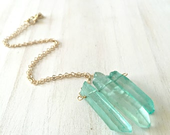 Mermaid Green Quartz Necklace | Bohemian Necklace | Bohemian Style | Crystal Point Necklace