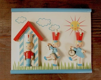 wooden Little Drummer Boy scene | vintage nursery decor | vintage wooden wall hanging