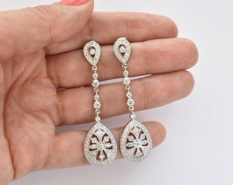 Art Deco Earrings Long Wedding Earrings Vintage Chandelier Earrings Bridal Jewelry Dangle Bridal Earrings