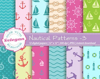 "nautical decor "" Nautical Patterns -3"" nautical print pattern anchor rope sail boat yacht wheel wave digital scrapbook background"