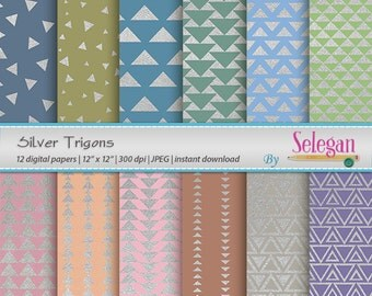 "triangle patterns ""Silver Trigons""  digital scrapbook paper 12x12 printable triangle pattern metallic silver texture geometric background"