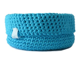 Blue Fold over Basket with Ribbon