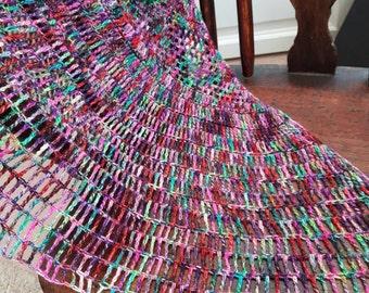 Sea Salt Crochet Shawl in Sparkly Hand dyed luxury yarn