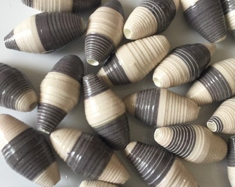 Oval, white with gray stripe paper beads. Set of 25.
