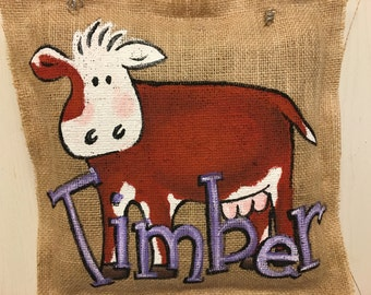 Burlap painted cow door hanger