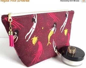 SALE Large Cosmetic Bag,Mermaid Makeup Bag,Large Zipper Pouch,Mermaid Cosmetic Bag,Burgundy Makeup Bag,Large Pencil Bag,Pencil Case