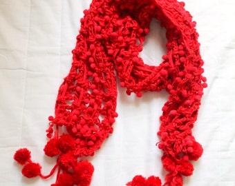 Red Pompom Scarf