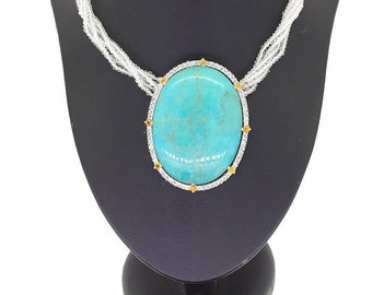 Turquoise citrine CZirconia and strands of crystals sterling silver pendant necklace and ring big impressive positive energy women