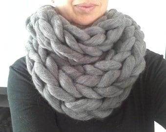 Super chunky handmade Australian merino infinity scarf in dark grey