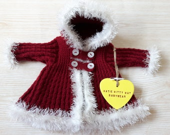 Red hooded baby coat, Hand knitted baby jacket, Baby girl, 0-3 months, Ready to ship, Baby shower gift, Baby clothing, Baby knitwear,