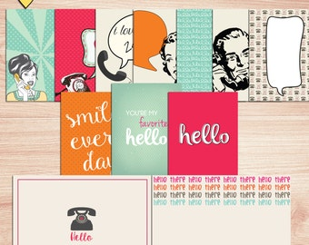 SUMMER SALE - Hello Journal Cards - Instant Download Printable journaling cards for Project Life and digital scrapbooking by Rachel Designs