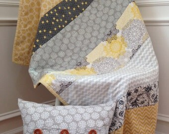 Baby Quilt -  Crib Quilt - Gender Neutral Quilt -  Baby Blanket - Yellow and Grey Baby Quilt - Homemade Quilt