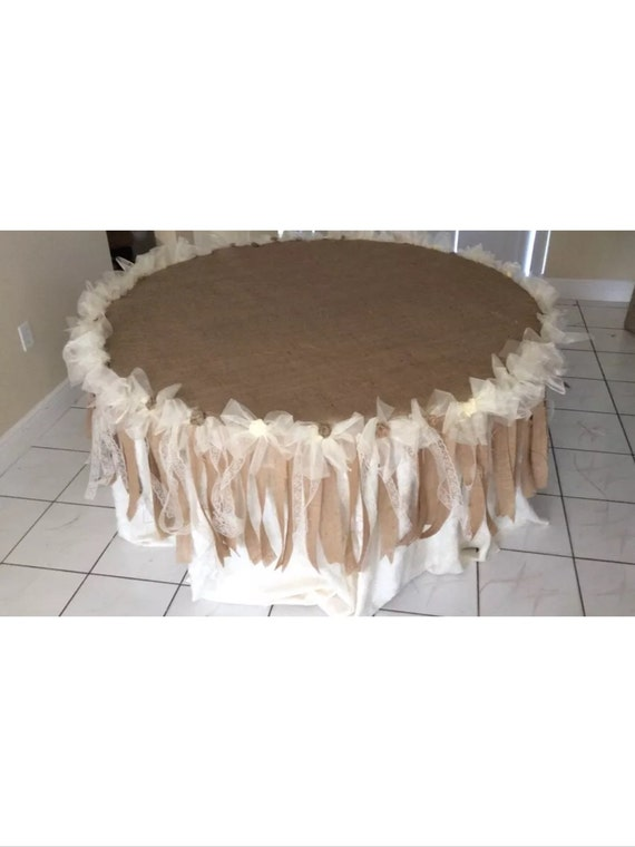 burlap and lace wedding cake table wedding table cloth burlap and lace custom order 12253