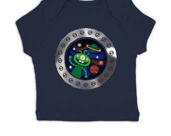 Rocket Window (Mirror Detail) sensory baby t-shirt
