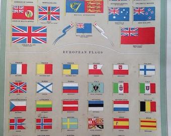 "1920 Vintage Flag Print - extra large original vintage print - British Empire flags, European flags, 14.5 x 20.5"""