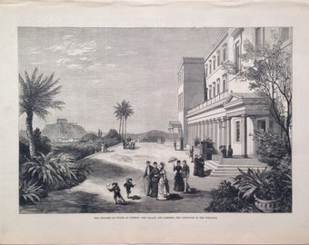 1877 Large Original Antique Steel Engraving titled 'The Princess of Wales at Athens: The Palace and Gardens, the acropolis in the distance'