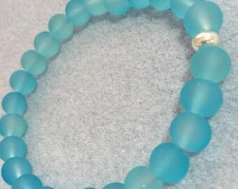 Aqua sea glass bracelet