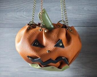 Leather pumpkin purse halloween bag halloween costume SUPER PRICE