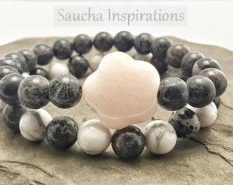 Bracelet for women, flexible, stackable, semi-precious stones, opal, semi precious, white, black, bohemian bracelet, zen gem