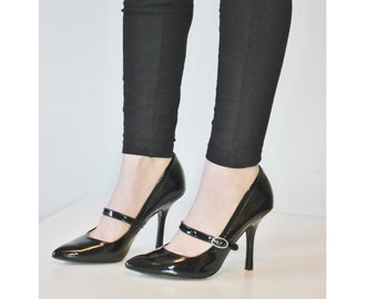 Black Patent Leather High Heel Shoes,Black High Heel Shoes,