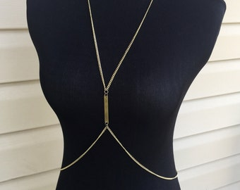 Single plate Gold body chain necklace