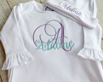 Coming Home Gown, Coming Home Outfit, Girls, Boys, Infants,Baby Gown, Embroidered, Monogrammed, with Embroidered hat,