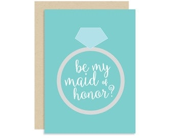 Maid of Honor Proposal Card - Be My Maid of Honor - Best Friend BFF - Wedding - Cute Fun Modern - 5x7