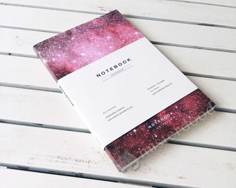 CUSTOM TITLE Journal, Pink Universe Notebook, Red Galaxy Stationery Paper Goods, Milky Way Galaxies, Aerospace Astronomy Astrology Stars Art