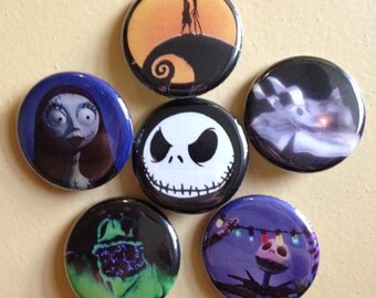 Nightmare Before Christmas set of 6 pin back buttons 1.25""