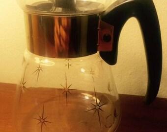 Mid Century Atomic Corning Starburst 4 Cup Carafe W/ Lid!!!