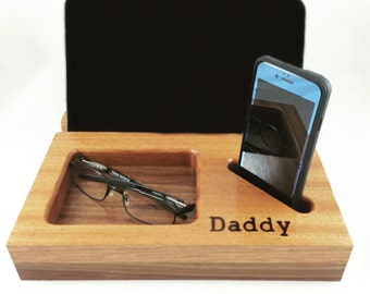 Docking Station, Tech Organizer, Valentines Gift, Gift for Dad, Gift for Men, iPad Dock, Anniversary Gift, iPhone Dock, Charging Station