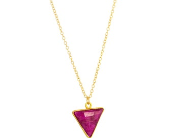 Gold Ruby Necklace, Triangle Necklace, Ruby Pendant Necklace, Ruby Necklace Gold, Geometric Necklace, Ruby Jewelry, July Birthstone Necklace