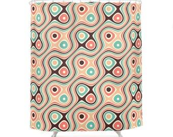 Retro Duschvorhang, psychedelische Muster, Mid Century Bad, 60er Jahre Hippie, farbige, Geometrie, Vintage Badezimmer Dekor, Lachs, Türkis
