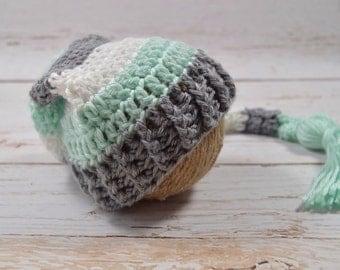 Crochet baby elf hat, crochet stripe hat, crochet baby tassel hat, baby elf hat, tassel hat, crochet baby hat