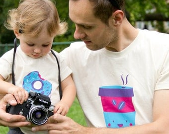 """Father Son T-shirt, best friend, funny matching daddy daughter, gift for dad, graphic tee """"Coffee Team"""" organic cotton handmade screenprint"""