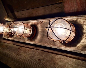 3 bulb Nautical / Beach house bathroom vanity bulkhead light fixture