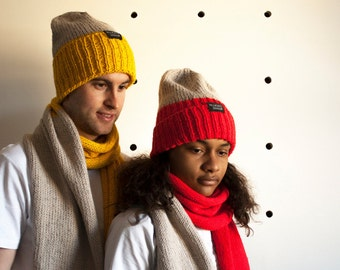 Unisex Adult Reflective Scarf and hat combo : Pick your colour (acrylic) - Sparkly yarn - cycling scarf - safety unisex scarf - beanie