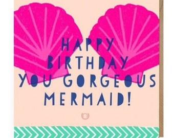Mermaid Birthday Card • Mermaid Card • Girls Greetings Card • Sister card • Best Friend cards • Mermaid Life • Princess