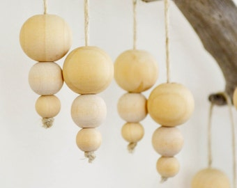 4 x Wood Bead Christmas Bauble Dangling Decoration Home Decor Beach Scandinavian Eco-Friendly All Natural Handmade in Australia JDog & T