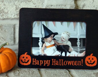 Halloween Decor Halloween Frame Halloween Kids Happy Halloween 4x6 Picture Frame Photo Frame Rustic Picture Frame Picture Frame Distressed
