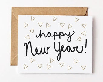 Sparkle New Year Triangles Recycled Paper Greeting Cards New Year's Eve Holiday Cards Eco Friendly Card Set