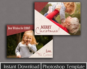 Christmas Card Template, photo cards, instant download, photography templates, holiday photoshop files for photographers, Christmas Design