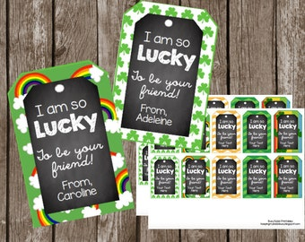 50% OFF SALE St. Patrick's Day EDITABLE Tags - Instant Download - Chalkboard - Gifts - Favor Toppers - Printable Cards