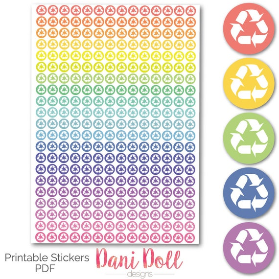 graphic about Circle Printable Stickers named Recycling Circle Planner Stickers Colored Vivid Printable Mambi Erin Condren Instantaneous Down load Kikki