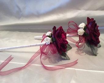 Flowergirl Wand  Single Rose wand Wine Burgundy & Ivory
