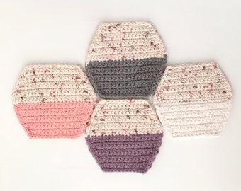 Minimal Color Block Crochet Coaster Set Of 4