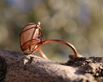 Ring with round stone-COPPER & HEALTH line