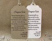 Honeymoon Wish Personalised Wedding Card Favour Tags  Traditional Vintage Red Heart NOH