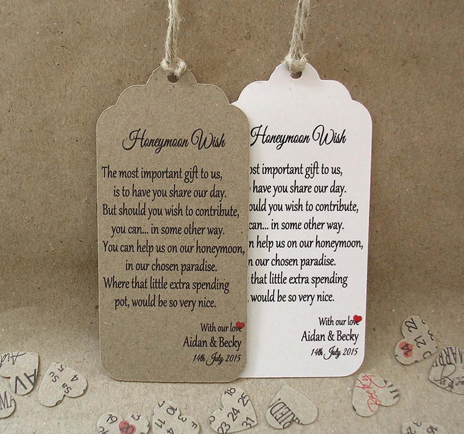 Honeymoon Wish Personalised Wedding Card Favour Tags