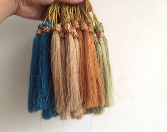 Long Silk Tassels with Wooden Beads for Jewelry Embellishment